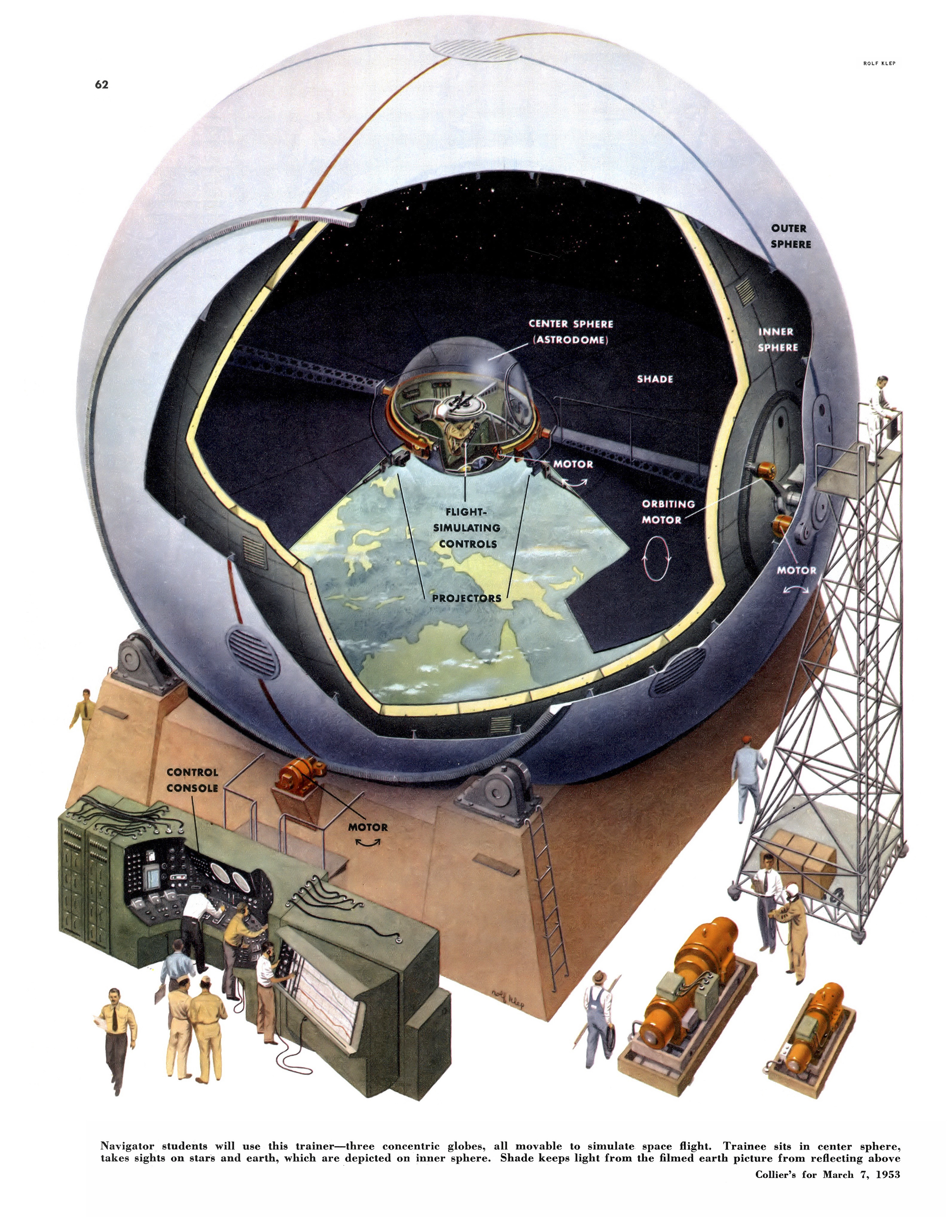 Collier 3.7.1953-p62-Training simulated space station.jpg