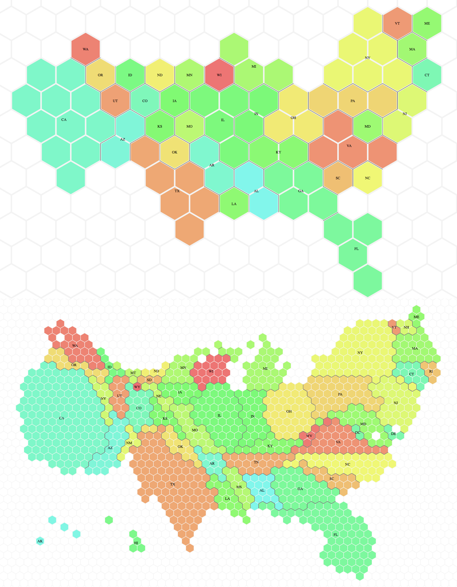 If The Map Starts Looking A Bit Too Weird You Can Drag Hexagons To Move Them Around The Tool Tells The User About The Statistical Accuracy Of Each Region S